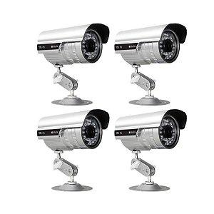 KIT com 4 Câmeras Infravermelho 1200 Linhas, Lente de 3.6 mm, distância infravermelho de até 35 metros com IP66 - GRÁTIS