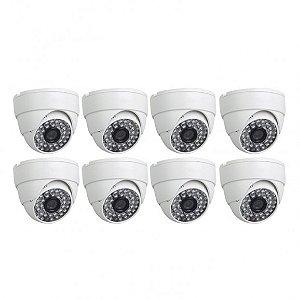 KIT 8 Câmeras Infravermelho Dome 1200 Linhas, Lente de 3.6 mm - GRÁTIS Fontes e Conectores