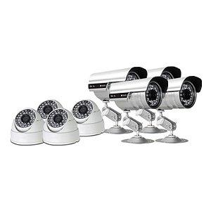 KIT com 4 Câmeras Infravermelho Dome 1000 linhas e 4 Câmeras Infravermelho Bullet 1.200 linhas - GRÁTIS Fontes e Conecto