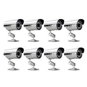 KIT com 8 Câmeras Infravermelho 1200 Linhas, Lente de 3.6 mm - GRÁTIS Fontes e Conectores