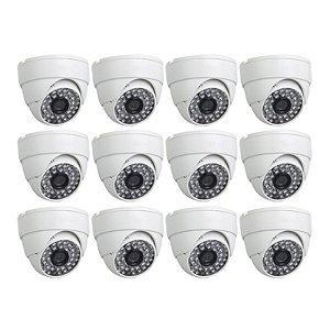 KIT 12 Câmeras Infravermelho Dome 1000 Linhas, Lente de 3.6 mm - GRÁTIS Fontes e Conectores
