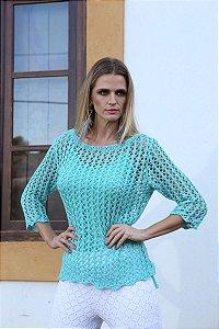 Blusa com mangas 3/4 em tricot