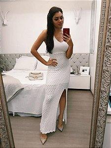 Vestido Longo Tricot com Fenda Lateral
