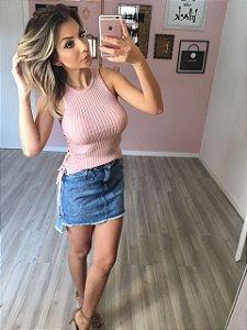Regata com amarração rosa