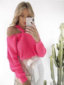 Suéter Decote V Neon