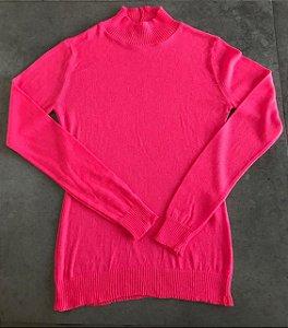 Blusa Básica Gola Rosa Neon