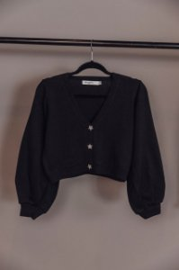 Cardigan Cropped Nature Preto