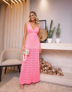 Vestido Moonlight Rosa Neon