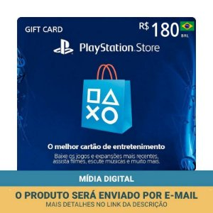 Cartão Presente R$180 PSN Brasil - Sony