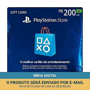 Cartão Presente R$200 PSN Brasil - Sony
