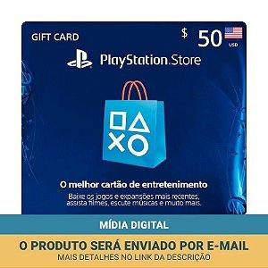 Cartão Presente $50 (dólares) PSN Americana - Sony