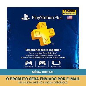 Cartão PSN Plus Assinatura 3 Meses Americana - Sony