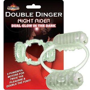 Anel peniano fosforescente com duas cápsulas - double dinger night rider