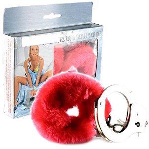 Algemas eróticas em metal com pelúcia vermelha - love cuffs pp