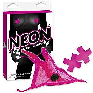 Calcinha com cápsula vibratória - neon vibrating crotchless panty and pasties set