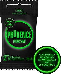 Preservativo camisinha prudence neon brilha no escuro - fosforescente - 3uni