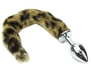 Plug anal rabo de raposa (plug grande 9.5 x 4 cm - cor prata) - cosplay