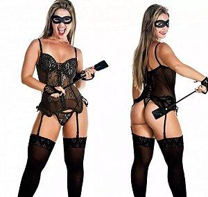 Fantasia sensual espartilho cinta tiazinha dominatrix bojo + meia fina preta 7/8