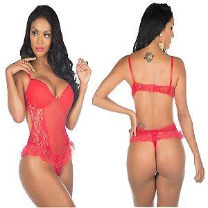 Body lingerie sensual sexy ágatha - cor vermelha