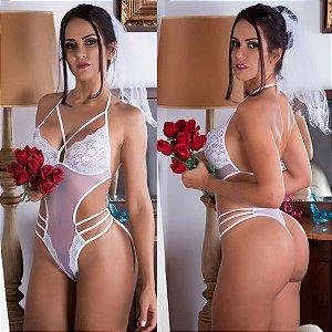 """Fantasia erótica Body Noiva """"Docinho"""" - Lingerie para Lua de Mel"""