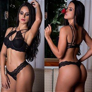 Conjunto de lingerie sexy Strappy em renda preto