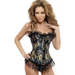 Corselet Estampado, Com Renda e Barbatanas