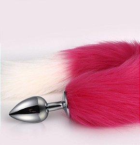 Plug Anal Rabo de Raposa com cauda de 48 cm - cor: vermelho e Branco