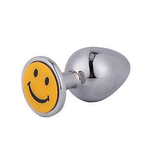 PLUG ANAL DE METAL CROMADO MÉDIO - SMILE -  8 X 3,5 CM