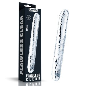 Lovetoy Flawless Clear Double dildo - PÊNIS REALÍSTICO DE PONTA DUPLA FEITO EM JELLY TPE - DOUBLE DONG - 30 X 3,5 CM
