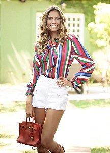 SALE | Shorts Branco Com Zíper