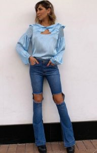 LONDON COLLECTION | Calça Flare Jeans Rasgo Escuro Paul