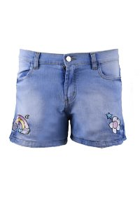 BLESSED UNICÓRNIO | Shorts TEEN Jeans Bordado Arco-íris