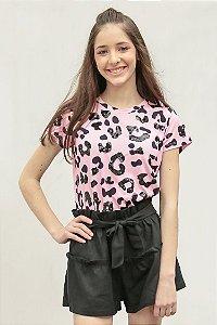 SPRING PREVIEW | Blusa Teen Estampa Jaguar Pink Mouth Bordada