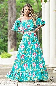 SUMMER PARADISE | Vestido Estampa Green Tulip c/ Cinto