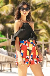 SUMMER PARADISE | Shorts Detalhe Cinto Estampa Toucan Geometric