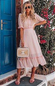 SANTORINI | Vestido Midi Detalhe Renda Grécia