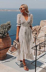 SANTORINI | Vestido Transpassado Poá Tule Oiá Santorini