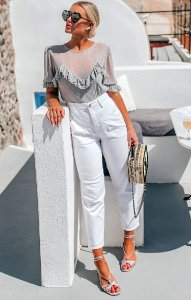 SANTORINI   Calça Jeans Sarja White