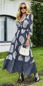 Vestido Longo Amarração Poá Taynah | DNA BLESSED