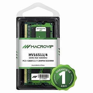 Memória para notebook 4GB DDR3 1600MHZ Macrovip MV16S11/4