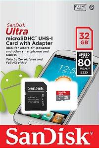 Cartão de Memória Ultra micro SDHC UHS-I com Adaptador 32GB Classe 10 - Sandisk sn