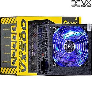 Fonte Atx  Vx500 Vx Gamer 500w Com Led Azul - Vinik