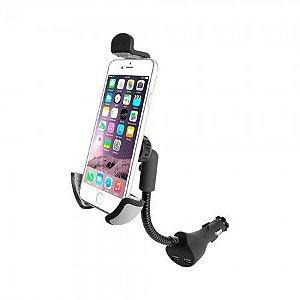 Suporte e Carregador Universal Veicular Smartphone com 2 entradas USB - Multilaser AC276