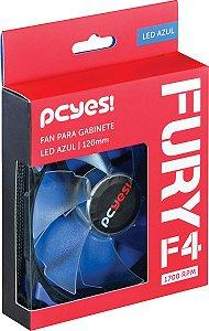 Cooler Fan Para Gabinete Fury F4 120mm Led Azul - Pcyes