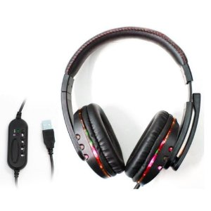 Fone De Ouvido Headset Game Usb Microfone Knup  KP-359 Preto/Vermelho