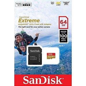 Cartão de Memória Micro SD Sandisk 64GB Extreme SDSQXAF-064G-GN6AA SDXC