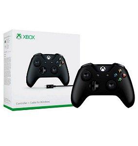 Controle sem Fio para Xbox One + Cabo USB - Preto Original