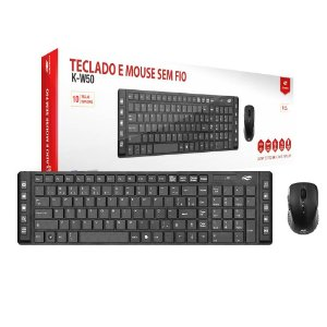 Kit Teclado e Mouse C3Tech K-W50BK Wireless Multimidia Preto