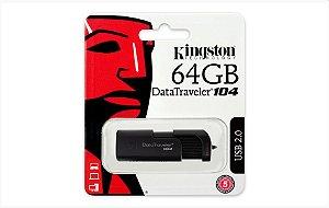 Pendrive Kingston DT104 64GB USB 3.0/2.0 Preto