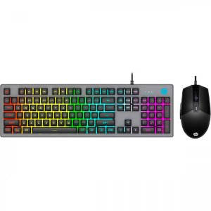 Kit Teclado e Mouse USB Gamer - HP KM300F Preto